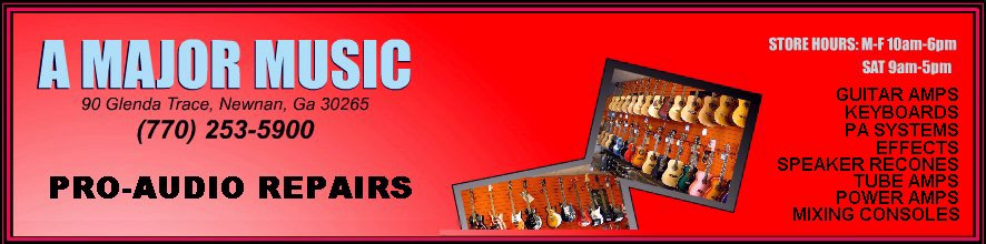 A Major Music supplies many  musical instrument and professional audio equipment repairs, synthesizer and other electronic keyboard services, including speaker reconing, power amplifier repairs, and instrument restorations.
