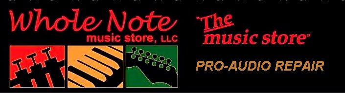 Whole Note Music supplies many  musical instrument and professional audio equipment repairs, synthesizer and other electronic keyboard services, including speaker reconing, power amplifier repairs, and instrument restorations.
